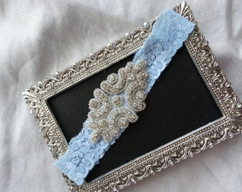 SALE Wedding Keepsake Garter - wedding garter Crystal Rhinestone-blue lace