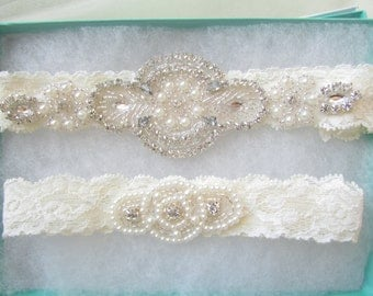 Wedding Garter Set - Pearl and Rhinestone Garter Set on a Ivory Lace Garter Set with Pearl & Rhinestone -