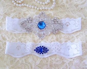SALE - Wedding Garter, Bridal Garter, Garter Set - Something Blue Crystal Rhinestone on a White Lace