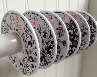 Baby Closet Dividers Baby Clothes Dividers Closet Organizers Clothes Organizers Baby Girl Nursery Black Damask and Pink