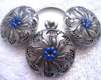 Czech  Glass Buttons  4 pcs REVERSE PAINTED    27mm    IVA   137