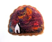 Felt brooch, house pin, needle felted badge, sunset sky, wool jewelry