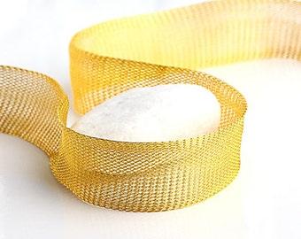 Gold, Titanium Tubular Mesh Ribbon, Titanium Mesh Cord, 1 mt. - Cord / Ribbon Supplies // CRD-0011