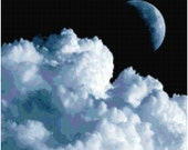 Moon and Clouds Counted Cross Stitch Pattern Chart PDF Download by Stitching Addiction