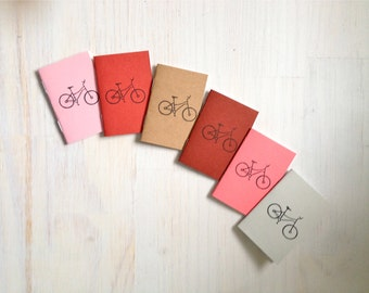 Tiny Journals: Notebooks, Bicycle, Bike, Hipster, Cute, Brown, Kids, Pink, Small Notebooks, Unique, Gift, Stocking Stuffer, For Him, For Her