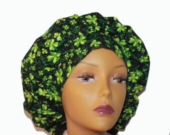 Bouffant Scrub Hat with ties - St Patrick's Day Scrub Hat - Clover leaf glitter Bouffant scrub hat - Ponytail Scrub hat - Custom Scrub Hat