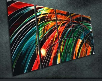 """Original Modern Metal Wall Art Abstract  Large Painting Sculpture Indoor Outdoor Decor """"Color Composition """" by Ning"""