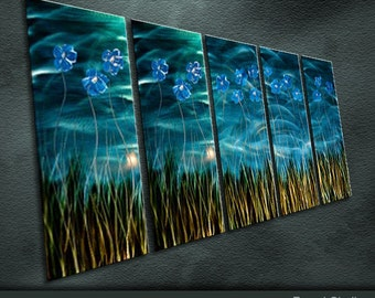 "Large Original Metal Wall Art Modern Abstract Painting Sculptuer Indoor Outdoor Decor "" Indigo Dream "" by Ning"
