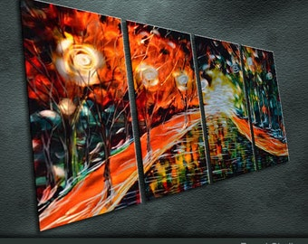 """Large Original Metal Wall Art Modern Abstract Painting Sculpture Indoor Outdoor Decor """"Rained of the street lamp"""" by Ning"""