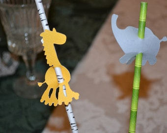 24 Straw Toppers--A Golden Giraffe or A Little Gray Elephant/Toppers/Giraffe Straw Toppers/ Elephant Straw Toppers/Safari Toppers