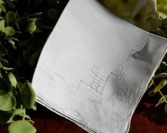 Vintage White On White Embroidered Handkerchief 3393