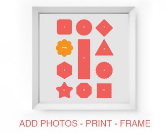 Shapes Photo Collage Template Storyboard Scrapbooking Photo Board for Baby Gift or Family Photographers Photoshop PSD Scrapbook Template