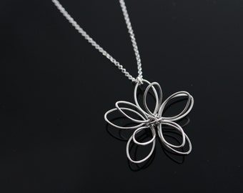 Bridesmaids Gift, Flower Necklace,  Flower Pendant, Sterling silver Italian chain.