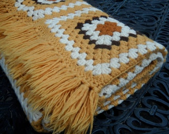Vintage Granny Square Crocheted Afghan or Throw, Beautiful Gold, Brown, and Ivory