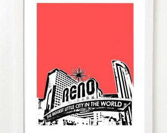 Reno Nevada Art Print  -  Reno City Skyline Art Print - VERSION 2