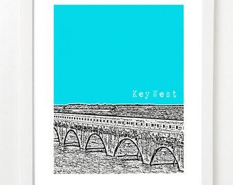 Key West Florida Poster  - Florida Keys Art - Key West Print - Florida Keys Skyline Art