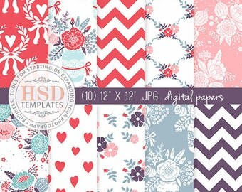 Blue Red Pink Digital Paper - Shabby Chic Digital Paper - Floral Digital Scrapbook Paper - Digital Backgrounds - Chevron Digital Paper DP134