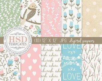 Floral Digital Paper - Shabby Chic Digital Paper - Pink Blue Green Digital Papers - Digital Scrapbook Paper - DP140