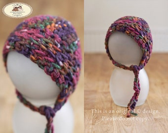 Newborn crochet bonnet hat with ties. Newborn Girls bonnet. Newborn Boys hat. Baby hat. Limited Edition Newborns photography prop. UK Seller