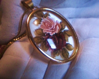SALE Shabby Chic Rose Necklace