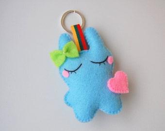 Dreaming blue bunny felt plush cute keychain