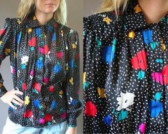 Vintage 1980s Black and Floral Blouse