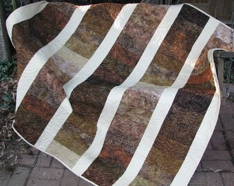 Lap Quilt, Sofa Quilt, Quilted Throw - Warm and Natural Brown Batik