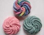 Spiral Crochet  Tawashi Scrubbies, Rainbow Stack