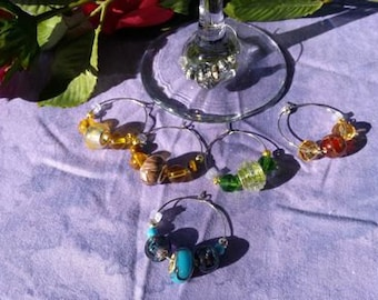 Wine Charms, Murano glass, six piece set, theme gold and silver