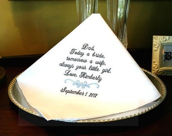 Father of The Bride Wedding Handkerchief -Hankie  Hanky Today a BRIDE- Tomorrow a WIFE  Gift for Father of the Bride - Wedding  MisterandMrs