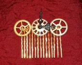 Triple Gears Hair Comb - Steampunk