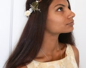 White bridal wedding hairpiece hair crown wreath garland flowers leaves roses cream