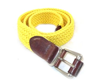 Bright yellow cotton and brown leather woven belt - brass fittings, very nice M L made in USA webbing