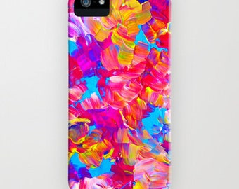 FLORAL FANTASY iPhone 4 5 5c SE 6 6s 7 Plus Case Samsung Galaxy Neon Hot Pink Bold Abstract Floral Summer Flower Pattern Gift Her Cell Cover
