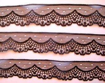 """Victorian Gothic Scalloped Lace Trim, Black, 1 7/8"""" inch wide, 1 Yard, For Scrapbook, Home Decor, Apparel, Accessories, Mixed Media"""