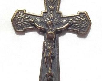 Bronze Crucifix with Shield Design