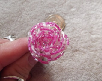 High Fashion Stunning Ring-Pink Beaded Flower- R179