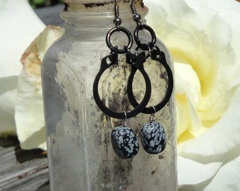 Snow Flake Obsidian and industrial hardware earrings