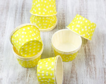 SALE - 15 small yellow cups with white polka dots