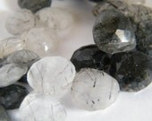 Tourmalated Quartz Heart Briolette. Black White Faceted Drop Briolette Bead. Semi Precious Gemstone Briolette. 10-11 mm. 6 Bead Strand