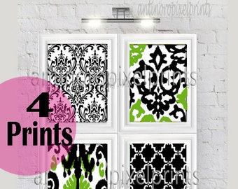 Wall Art Unframed Black White Green Ikat Vintage Modern Flowers Wall Art Print  - Set of Four 8x10 Print Featured in Green Greys White