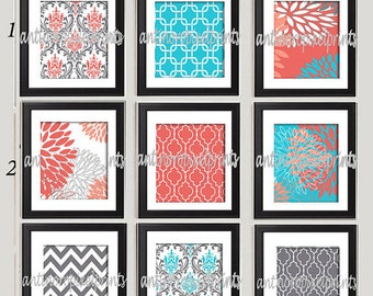 Turquoise Coral White Damask Floral Art Prints - Set of (6) Wall Art Prints  - Custom Colors Sizes Available (UNFRAMED)