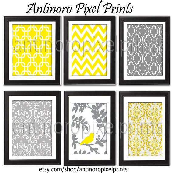 Spring Yellow Bird / Grey  Vintage / Modern inspired Art Prints Collection -Set of (6) - 8x10 Prints  - Featured in Yellow Grey  (UNFRAMED)