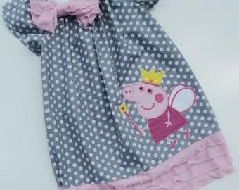 Polka Dot Peppa Pig Inspired Ruffle Peasant Dress