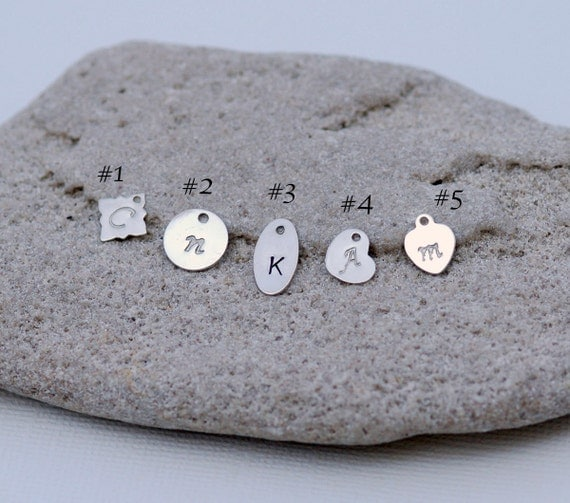 Add an Initial, Stamped Letter, STERLING SILVER, Mothers Gift, Silver Stamped Tag, Disc, Personalized Disc, Sterling Charms