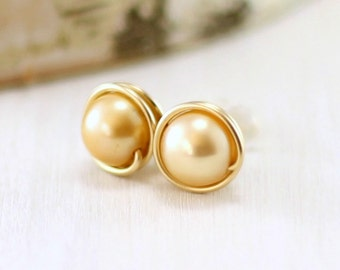 Yellow Pearl Earrings, 14k Gold Filled Golden Freshwater Pearl Stud Earrings Yellow Gold Wire Wrapped Post June Birthstone