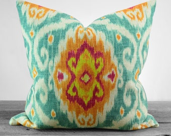 Iman Home Ubud Sunstone Ikat Pillow Cover - Same Fabric Both Sides - Pick Your Size