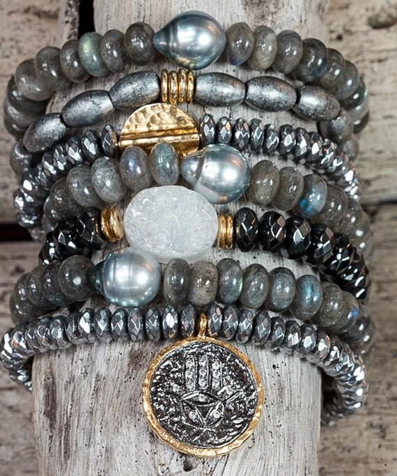 Bracelets, Stack Bracelets, Stretch Bracelets, Set of seven bracelets ...