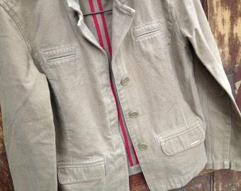 1980s Cotton Jacket Tan Brushed Denim Coat Size Medium