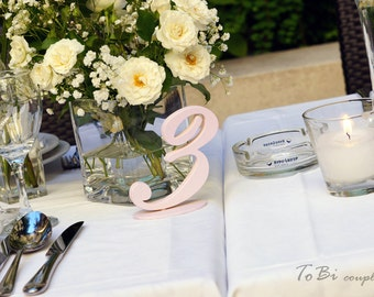 Wedding table number - Pale pink
